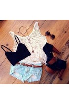 dark brown glasses - sky blue shorts - dark brown belt - ivory top - black bra