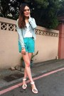 Light-blue-denim-jacket-aquamarine-shorts-silver-bracelet