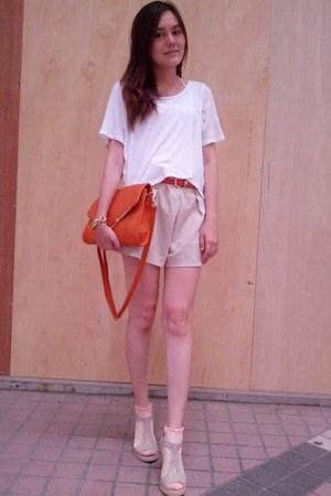 light orange bag - beige shorts - peach socks - white Zara t-shirt
