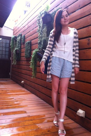 silver strip knitted jacket - sky blue Zara shorts - white top - white sandals