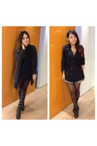 black boots - black dress - ruby red plover pattern tights - black top