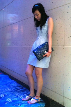 blue Chanel sandals - light blue dress - turquoise blue Chanel bag