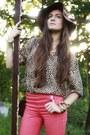 Dark-brown-h-m-hat-bronze-leopard-second-hand-shirt-crimson-romwe-wedges