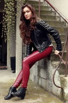brick red leather Cubus pants - black vintage boots - heather gray Cubus hat