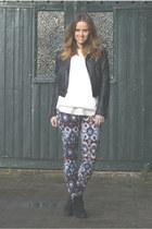 aztec Zara pants - Topshop boots - leather H&M Trend jacket - Zara jumper