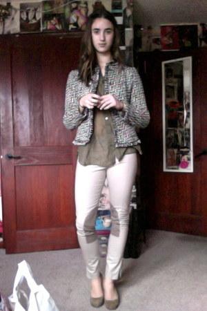 tan riding pants H&M pants - dark brown tweed united colors of benetton jacket