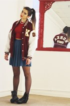 Vintage K University Leather Sleeve Varsity Jacket