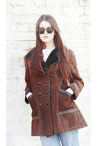 Vintage 60s Dark Brown Sheepskin and Leather Coat