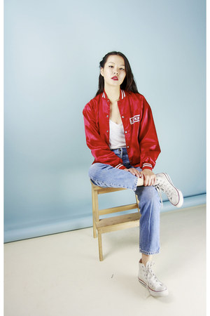 red Bird on a wire Vintage jacket - blue Bird on a wire Vintage jeans
