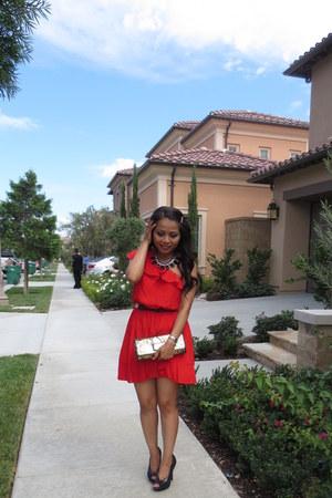 red dress - black Jessica Simpson pumps