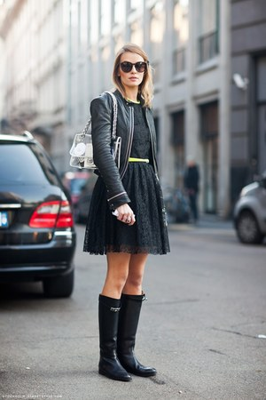 black lace dress - black boots - black leather jacket - yellow thin belt