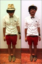 white cotton shirt - red denim shorts shorts
