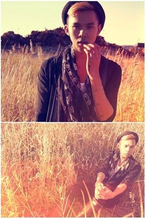 black sheer Alexander McQueen scarf - black Hunter boots - H&M hat