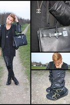 black Versace for H&M boots - black Mango blazer - black birkin Hermes bag