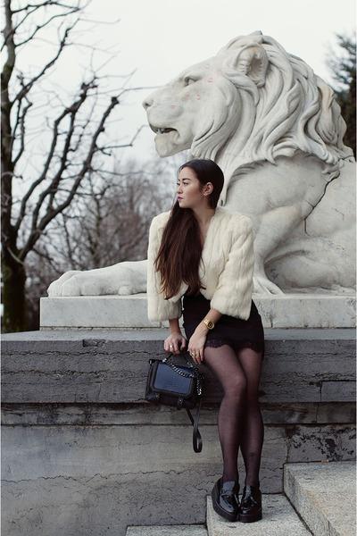 white bolero La Robe de mes Rêves jacket - black platforms Mango shoes