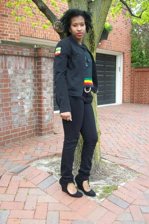 nine west black shoes - bluenotes black jeans - club monaco black jacket - gifte