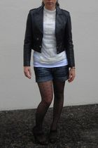 black vintage jacket - beige Zara blouse - blue Bershka shorts - black H&M stock