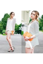 striped Zara sweater - light orange Chanel bag - black Christian Louboutin heels