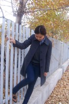 H&M coat - H&M jeans - clockhouse blouse