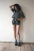 teal shoes - heather gray Cheap Monday sweater - black Shakuhachi shorts