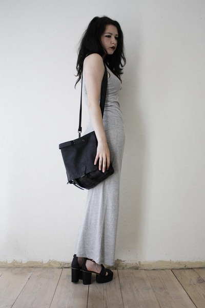 black leather bag - silver dress - black sandals