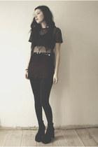 boots - top - belt - skirt - bra