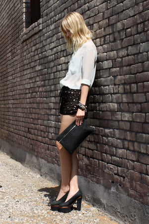 black acne heels - aquamarine Style by Marina shirt - black Lomme bag