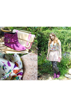 peach lace skirt skirt - deep purple boots - bubble gum bag