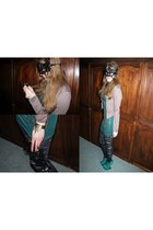 green dress - dark khaki jacket - black Atmosphere tights - green Wilady heels