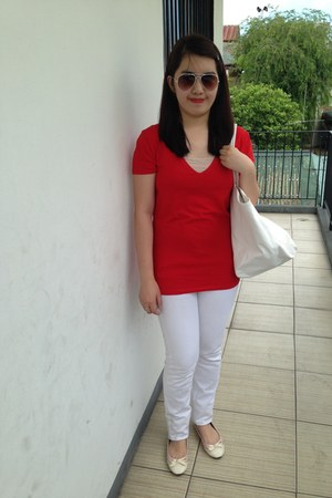 red Mango top - white Mango bag - white Topshop sunglasses - white Mango pants