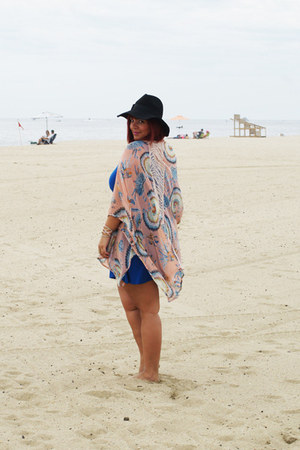 black floppy hat Forever 21 hat - blue asos dress