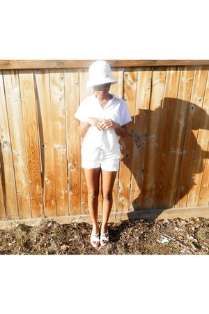 hat - denim shorts - thrifted blouse