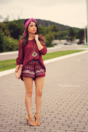 ruby red cardigan - bubble gum scarf - maroon shorts
