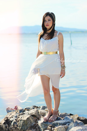 white dress - gold belt - gold flats