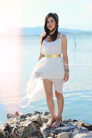 white dress - gold belt - gold flats