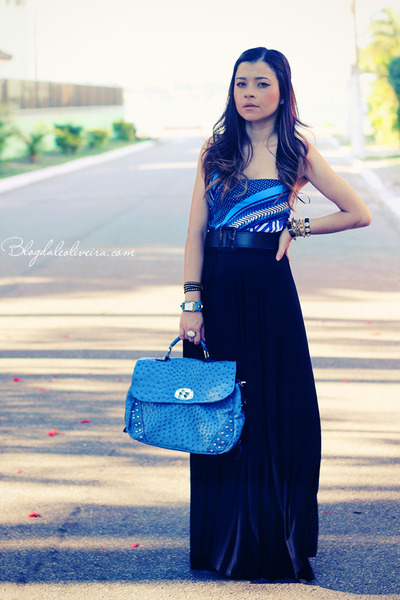 sky blue bag - sky blue bodysuit - black skirt - blue bodysuit