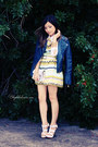 light yellow dress - navy jacket - white sandals