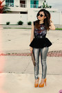 Camel-bag-black-sunglasses-silver-pants-bronze-pumps-black-top