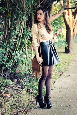 black skirt - camel bag - eggshell blouse - black sandals - black panties