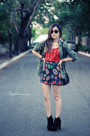 black boots - dark khaki jacket - black sunglasses - red blouse - black skirt
