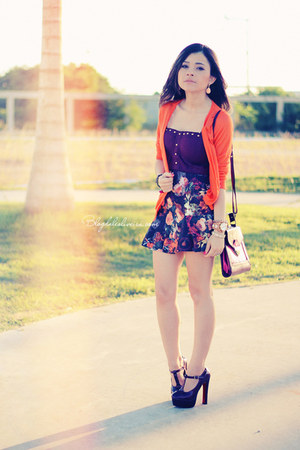 orange cardigan - brick red skirt - maroon top