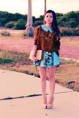 sky blue bracelet - sky blue dress - dark brown sweater - eggshell pumps
