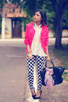 hot pink cardigan - black leggings - white blouse