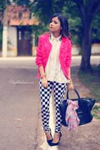 hot pink cardigan - black leggings - white blouse