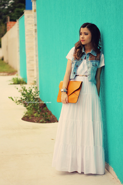 off white dress - sky blue vest