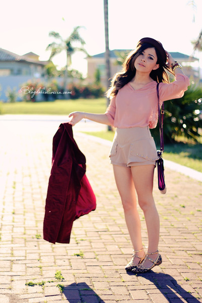 crimson coat - beige shorts - brown belt - pink blouse - dark brown flats