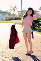 crimson coat - beige shorts - brown belt - pink blouse - dark brown flats