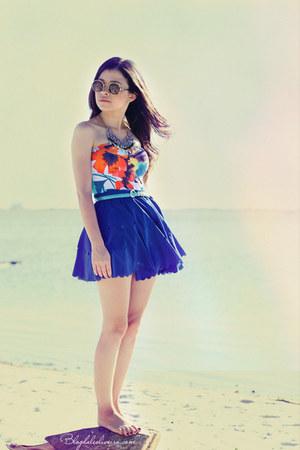 blue skirt - light brown sunglasses - yellow top - blue top