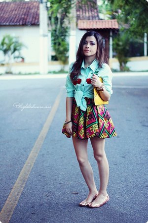 bubble gum skirt - light blue blouse - gold flats