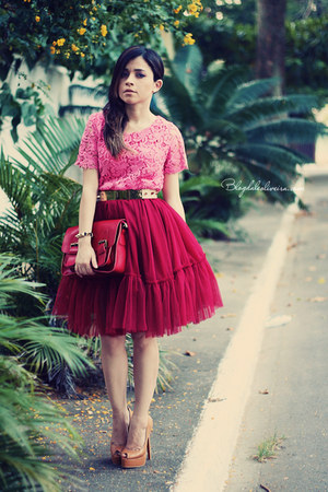 ruby red skirt - brick red bag - bubble gum blouse